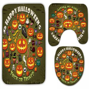 3Pcs/Set Pumpkin Halloween Flannel Bath Toilet Mat - ARMY GREEN