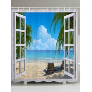 Window Beach View Print Fabric Waterproof Bathroom Shower Curtain