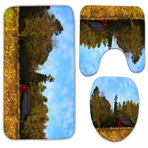 3Pcs/Set Flannel Autumn Scenery Print Bath Toilet Rug - YELLOW