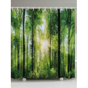 Forest Sunlight Print Fabric Waterproof Bathroom Shower Curtain