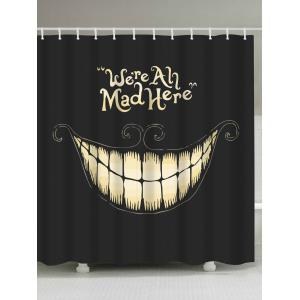 Funny Smiling Fabric Halloween Decor Shower Curtain - Black - W71 Inch * L79 Inch