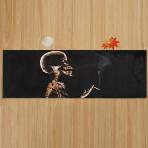 Halloween Skeleton Smoke Print Anti-skid Water Absorption Area Rug - BLACK W24 INCH * L71 INCH