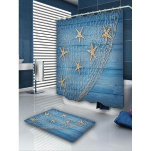 Starfish Fishing Net Print Shower Curtain and Rug