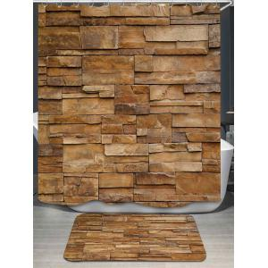 Brick Wall Pattern Shower Curtain and Rug - Light Brown - 150*180cm