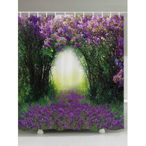 Floral Tree Hole Print Fabric Waterproof Bathroom Shower Curtain - Purple - W71 Inch * L79 Inch