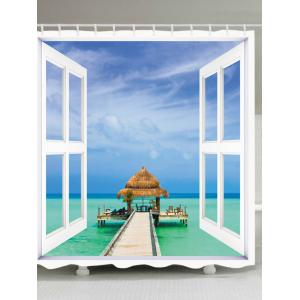 Window Sea View Print Fabric Waterproof Bathroom Shower Curtain - White - W71 Inch * L79 Inch