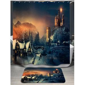 Fairy Tale Castle Print Shower Curtain and Rug