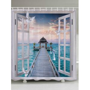 Window Sea Bridge Print Fabric Waterproof Bathroom Shower Curtain - White - W71 Inch * L79 Inch