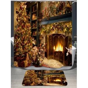 Christmas Fireplace Bath Curtain and Rug