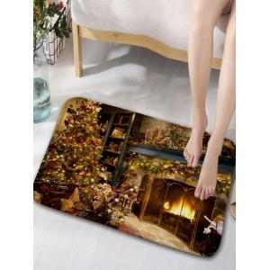 Christmas Fireplace Bath Curtain and Rug -