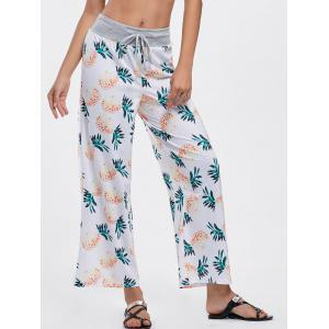High Waisted Pineapple Print Wide Leg Pants