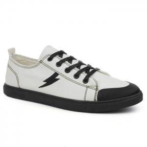 The Flash Lightning Canvas Sneakers - White - 40