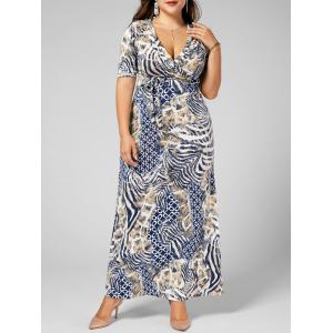 Long V Neck Printed Pattern Plus Size Dress - Light Camel - 3xl