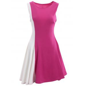 Asymmetrical Color Block Mini Dress - Rose + White - 2xl