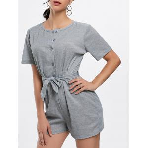 Button Down Knitted Romper - Gray - S