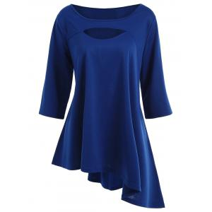 Long Plus Size Cut Out Asymmetric Tee - Blue - 5xl
