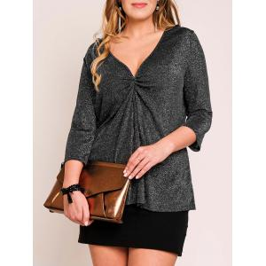 V Neck Ruched Plus Size Metal Top
