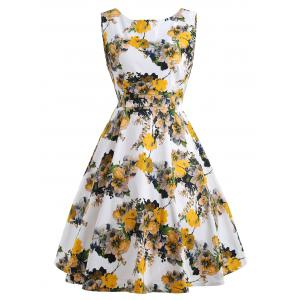 Floral Bloom Sleeveless Retro Swing Dress - Yellow - 2xl