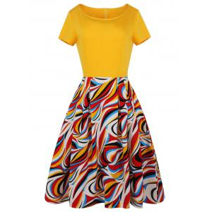 A Line Printed Plus Size Midi Dress