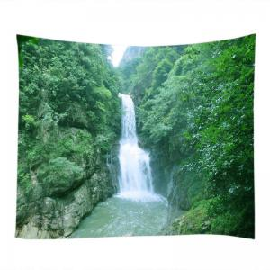 Mountain Waterfall Print Tapestry Wall Hanging Art Decoration - GREEN W91 INCH * L71 INCH