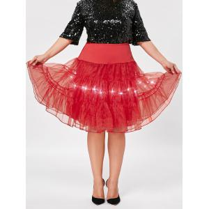 Plus Size Cosplay Light Up Party Skirt - Red - 2xl