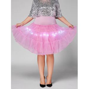Plus Size Cosplay Light Up Party Skirt - Light Pink - 2xl