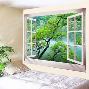 Window Tree Fog Print Tapestry Wall Hanging Art Decoration