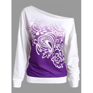 Printed Ombre Long Sleeve Sweatshirt - Purple - Xl