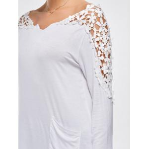 Crochet Insert Long Sleeve Asymmetric Tunic Top - WHITE S