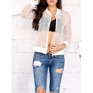 Zip Up Lace Sheer Jacket