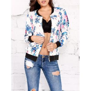 Zippered Flower Printed Jacket
