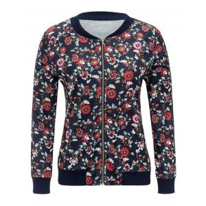 Zipper Up Floral Print Jacket - CADETBLUE M