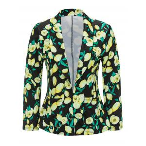 Shawl Collar Open Front Lemon Print Blazer -