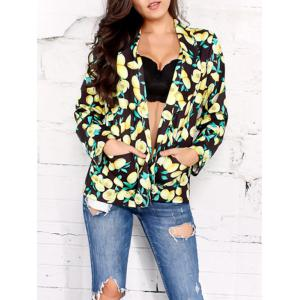 Shawl Collar Open Front Lemon Print Blazer - Black - 2xl