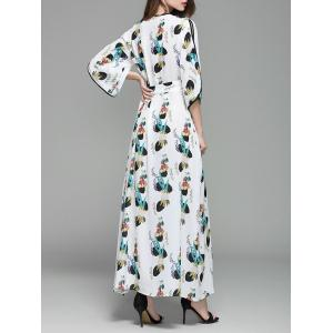 Plunging Neckline Print Long Wrap Dress - WHITE S