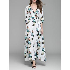 Plunging Neckline Print Long Wrap Dress