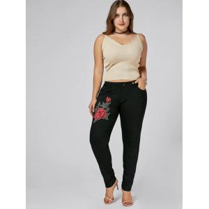 Plus Size Embroidered Tight Jeans - BLACK 2XL