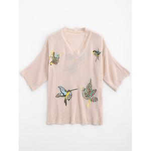 Ripped V Neck Birds Embroidered Sweater - Light Apricot Pink - One Size