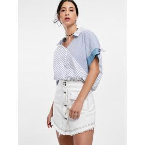 Oversized Striped Top - BLUE ONE SIZE