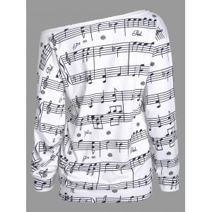Musical Notes Printed Long Sleeves Sweatshirt - WHITE S