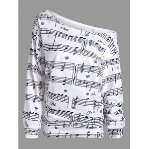 Musical Notes Printed Long Sleeves Sweatshirt - White - Xl