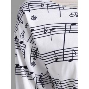 Musical Notes Printed Long Sleeves Sweatshirt - WHITE 2XL