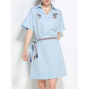 Sequins Embroidery Batwing Sleeve Belted Shirt Dress