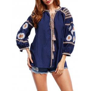 Tassels Floral Embroidered Tunic Blouse