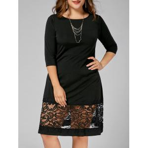 Plus Size Lace Panel A Line Dress