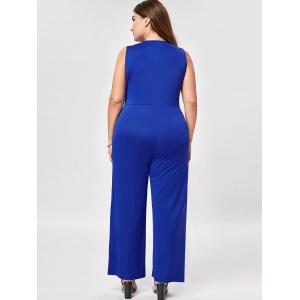 Plus Size Sleeveless Palazzo Jumpsuit - BLUE XL