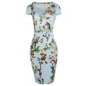 Plus Size Bodycon Floral Midi Dress