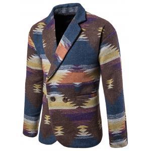 Lapel One Button Tweed Blazer