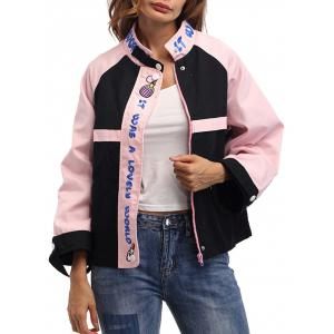 Color Block Letter Embroidery Jacket - Black And Pink - One Size