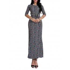 Belted Lattice Print Shetland Maxi Dress